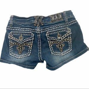 L.A. Idol USA Women Denim Embellished Shorts Small
